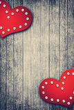 Grunge valentine background with two hearts Stock Images