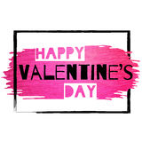 Grunge Valentine banner with pink glitter paint stroke Stock Image
