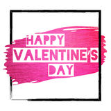 Grunge Valentine banner with pink glitter paint stroke. Grunge banner with pink paint stroke and `Happy Valentine`s day` text. Black border frame. Hand made Stock Photography