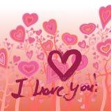 Grunge valentine card with hand drawn text. Stock Photos