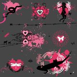 Grunge Valentine elements. Grunge Valentine design elements. With insects and amfibians. To see similar illustrations, please visit my gallery Royalty Free Stock Photos