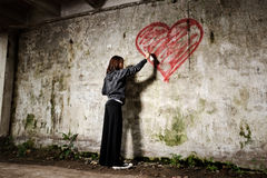 Grunge valentine girl Stock Photo