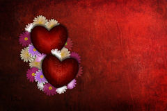 Grunge Valentine heart with flowers Stock Photos