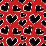 Grunge Valentine hearts. Seamless  pattern. Royalty Free Stock Image