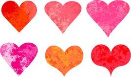 Grunge valentine hearts vector stock illustration