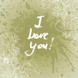 Grunge valentine karta z ręka rysującym tekstem Zdjęcia Stock
