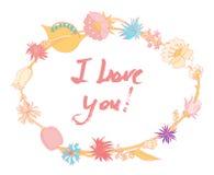 Grunge valentine karta z ręka rysującym tekstem Fotografia Stock
