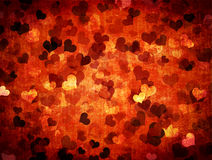Grunge valentines background with hearts Stock Photos