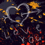 Grunge Valentines Day background. With blots stock illustration