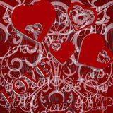 Grunge valentines day background with hearts Royalty Free Stock Images