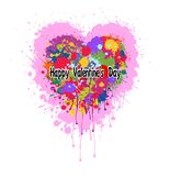 Valentines Heart made of colorful splashes of paint. Grunge Vector abstract heart with colorful splashes and paint drips . Graffiti heart. Valentine`s heart Stock Photo