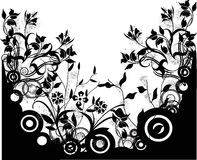 Grunge vector background. With  flowers Stock Image