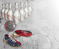 Grunge  vector background of a bowling design Stock Image