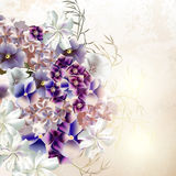 Grunge vector background. With purple flowers in vintage style Royalty Free Stock Photography