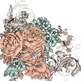 Grunge vector background with roses  flowers for design Stock Photography