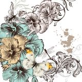 Grunge vector background with violent  flowers for design Stock Photo