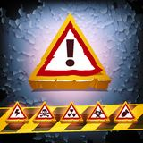 Grunge Vector Background With Warning Signs Royalty Free Stock Image