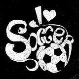 Grunge vector banner with white lettering title I love Soccer. On black background Stock Photos