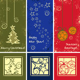 Grunge Vector Christmas Ornaments. Greeting Cards with Grunge Vector Christmas Ornaments stock illustration