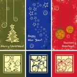 Grunge Vector Christmas Ornaments. Greeting Cards with Grunge Vector Christmas Ornaments Stock Illustration