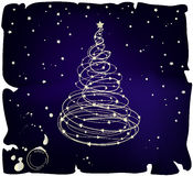 Grunge Vector Christmas Tree. Golden Christmas tree on grunge old paper royalty free illustration