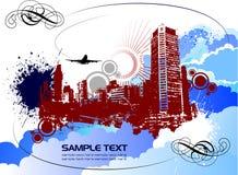 Grunge vector cityscape Stock Photos