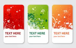 Grunge vector flower labels banners or visit cards royalty free illustration