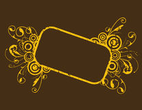 Grunge Vector Frame. A yellow grunge vector frame on brown Royalty Free Stock Photo