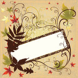 Grunge vector frame with Autumn Leafs. Thank Stock Illustration