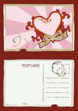 Grunge vector heart postcard Stock Photo