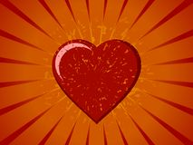 Grunge Vector Heart on Sunburst Stock Photo