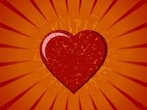 Grunge Vector Heart on Sunburst. A grunge design of a vector heart on an orange and yellow sunburst background Stock Photo