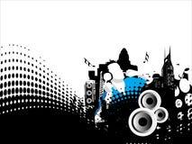 Grunge vector illustration of disc jockey on city Royalty Free Stock Photo