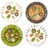 Grunge vector labels healthy food restaurant Stock Images