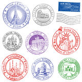 Grunge Vector Monument Stamps Royalty Free Stock Image