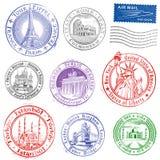 Grunge Vector Monument Stamps stock illustration