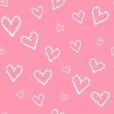 Grunge vector naadloos patroon met hand geschilderde harten De dagachtergrond van de valentijnskaart Stock Foto