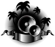 Grunge vector palm music Royalty Free Stock Photos