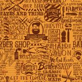 Barber shop elements and icons patchwork background. Grunge vector seamless pattern vintage wallpaper Stock Photos