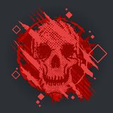 Grunge vector skull with grunge splash. Vector Illustration. Royalty Free Stock Photo