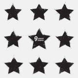 Grunge vector stars. Set of 9 grunge vector stars. Design elements.  Vintage star. Retro star. Abstract vector background. Hand drawn. Retro background. Vintage Stock Photo