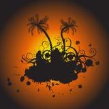Grunge Vektor mit Blumen mit Palme lizenzfreie stockbilder