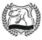 Grunge velociraptor head emblem Stock Photo