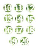 Grunge verde Textured número fijó 10-20 Fotos de archivo libres de regalías