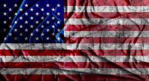 Grunge verfrommelde Amerikaanse vlag het 3d teruggeven Stock Foto