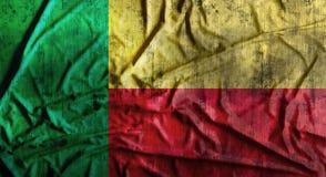 Grunge verfrommelde Benin vlag het 3d teruggeven Stock Afbeelding