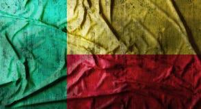 Grunge verfrommelde Benin vlag het 3d teruggeven Stock Foto