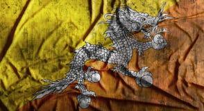 Grunge verfrommelde Bhutan vlag het 3d teruggeven Royalty-vrije Stock Fotografie