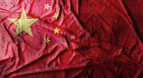 Grunge verfrommelde Chinese vlag het 3d teruggeven Royalty-vrije Stock Foto's