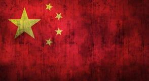 Grunge verfrommelde Chinese vlag het 3d teruggeven Stock Afbeeldingen